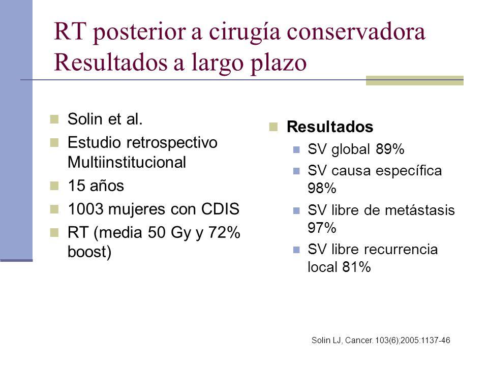 RT posterior a cirugía conservadora Resultados a largo plazo Solin et al. Estudio retrospectivo Multiinstitucional 15 años 1003 mujeres con CDIS RT (m