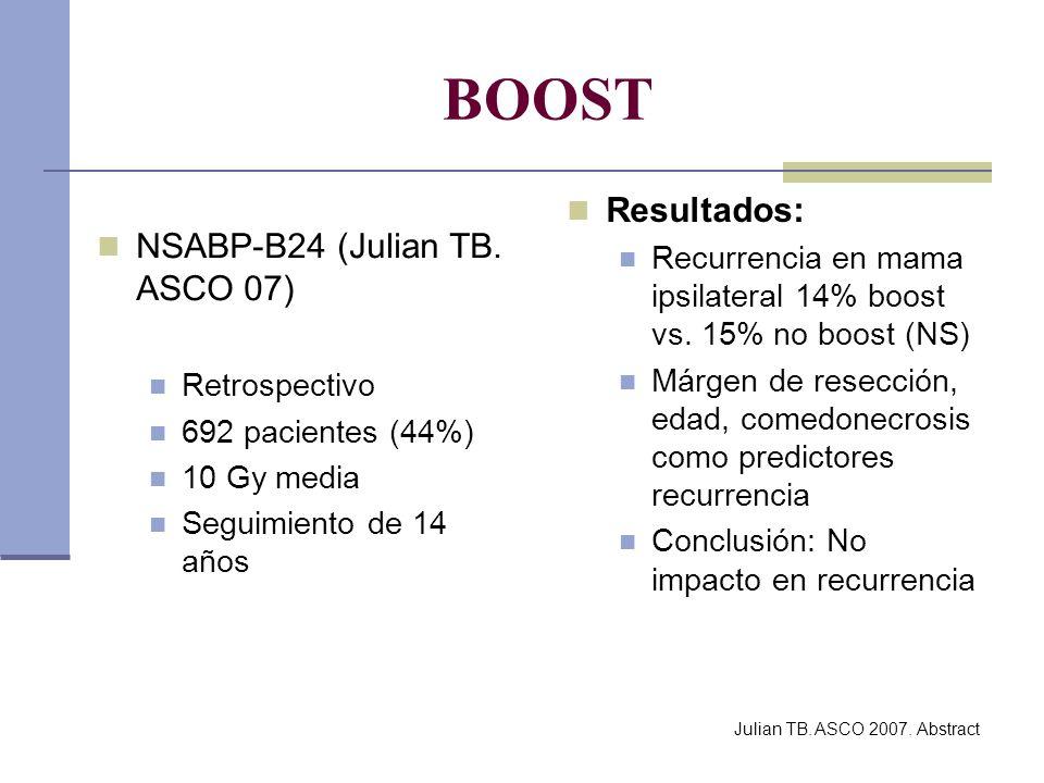 BOOST NSABP-B24 (Julian TB. ASCO 07) Retrospectivo 692 pacientes (44%) 10 Gy media Seguimiento de 14 años Resultados: Recurrencia en mama ipsilateral
