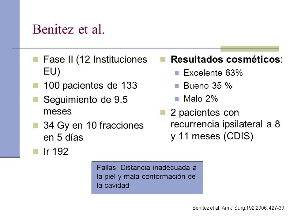 Benitez et al. Fase II (12 Instituciones EU) 100 pacientes de 133 Seguimiento de 9.5 meses 34 Gy en 10 fracciones en 5 días Ir 192 Resultados cosmétic