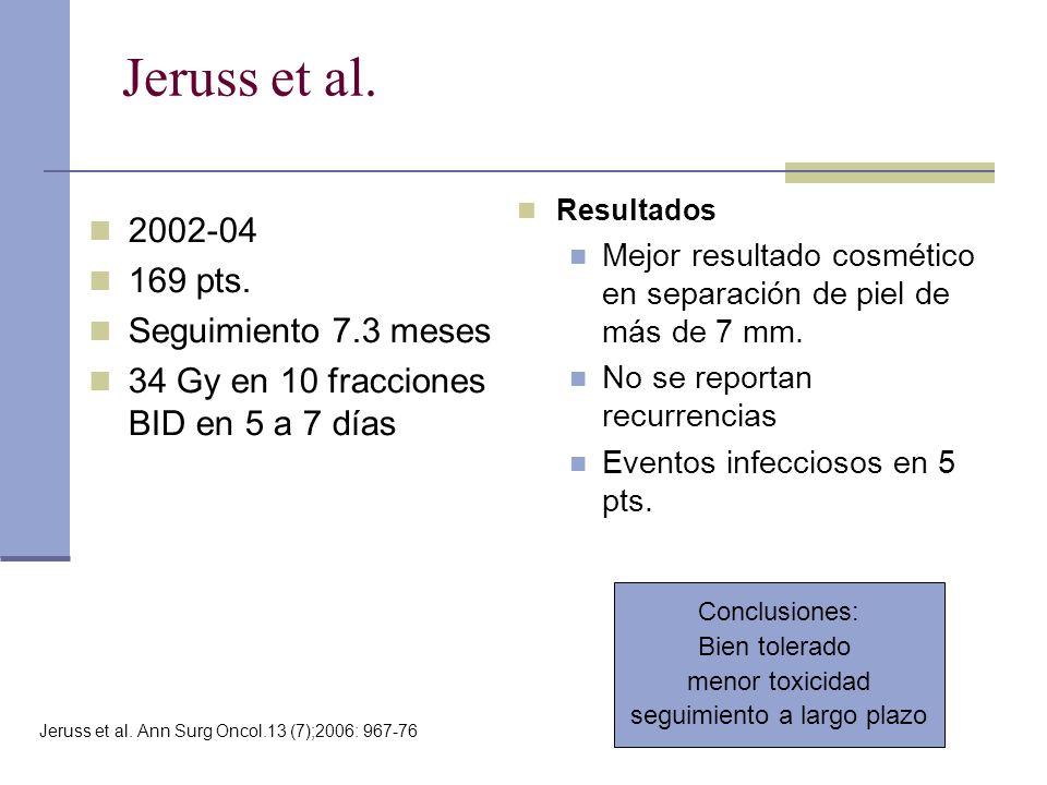 Jeruss et al. 2002-04 169 pts. Seguimiento 7.3 meses 34 Gy en 10 fracciones BID en 5 a 7 días Resultados Mejor resultado cosmético en separación de pi
