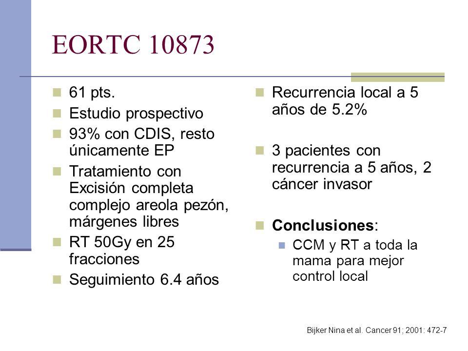 EORTC 10873 61 pts. Estudio prospectivo 93% con CDIS, resto únicamente EP Tratamiento con Excisión completa complejo areola pezón, márgenes libres RT