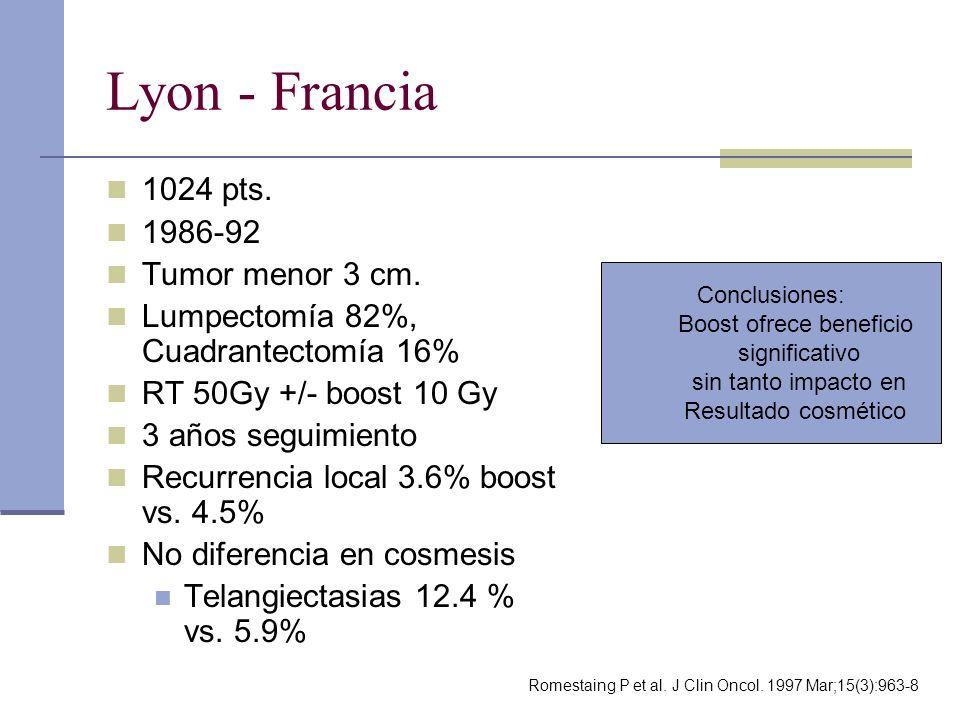 Lyon - Francia 1024 pts. 1986-92 Tumor menor 3 cm. Lumpectomía 82%, Cuadrantectomía 16% RT 50Gy +/- boost 10 Gy 3 años seguimiento Recurrencia local 3