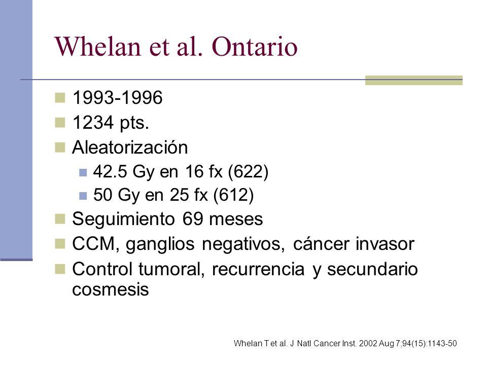 Whelan et al. Ontario 1993-1996 1234 pts. Aleatorización 42.5 Gy en 16 fx (622) 50 Gy en 25 fx (612) Seguimiento 69 meses CCM, ganglios negativos, cán