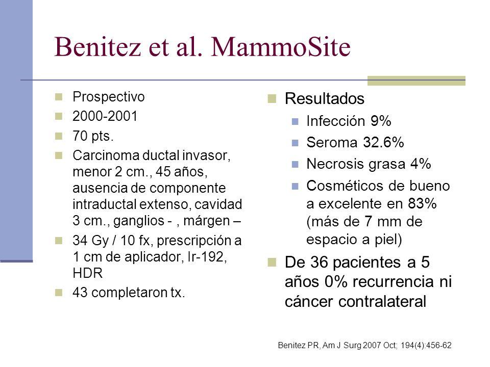 Benitez et al. MammoSite Prospectivo 2000-2001 70 pts. Carcinoma ductal invasor, menor 2 cm., 45 años, ausencia de componente intraductal extenso, cav