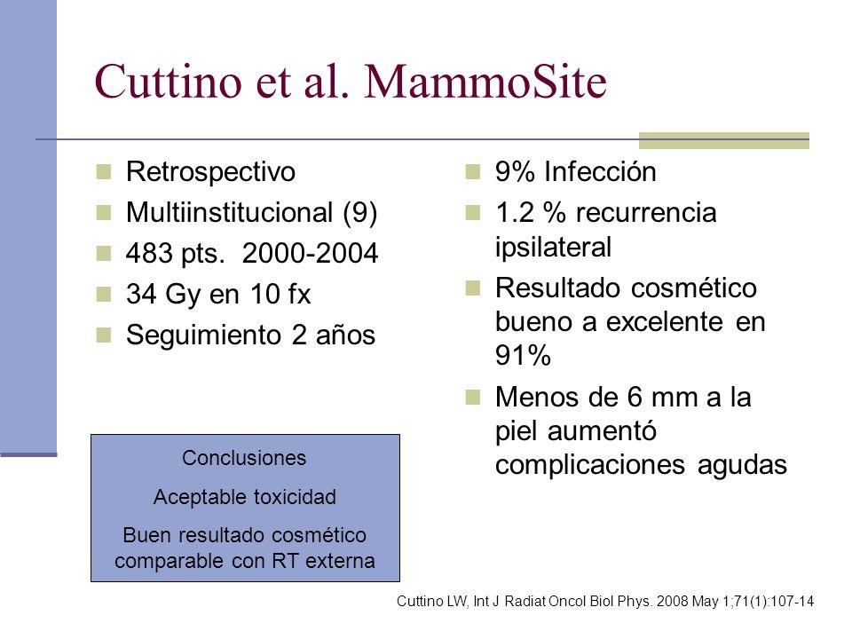 Cuttino et al. MammoSite Retrospectivo Multiinstitucional (9) 483 pts. 2000-2004 34 Gy en 10 fx Seguimiento 2 años 9% Infección 1.2 % recurrencia ipsi