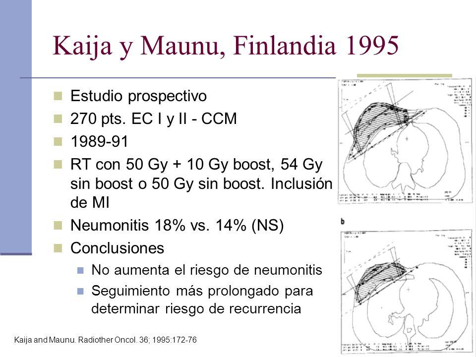 Kaija y Maunu, Finlandia 1995 Estudio prospectivo 270 pts. EC I y II - CCM 1989-91 RT con 50 Gy + 10 Gy boost, 54 Gy sin boost o 50 Gy sin boost. Incl