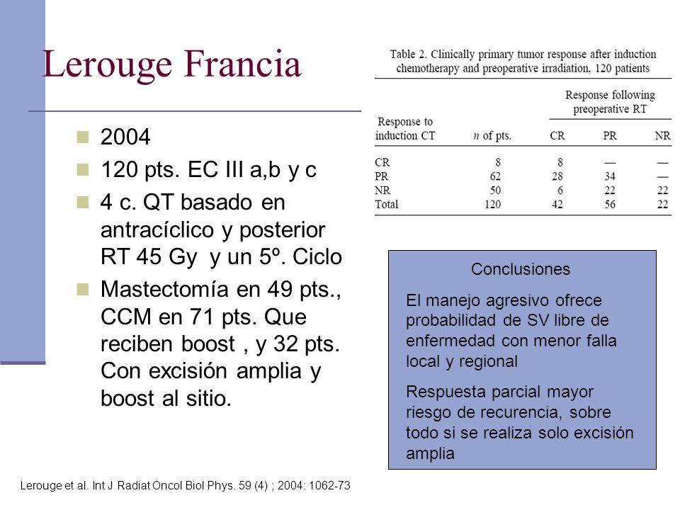 Lerouge Francia 2004 120 pts. EC III a,b y c 4 c. QT basado en antracíclico y posterior RT 45 Gy y un 5º. Ciclo Mastectomía en 49 pts., CCM en 71 pts.