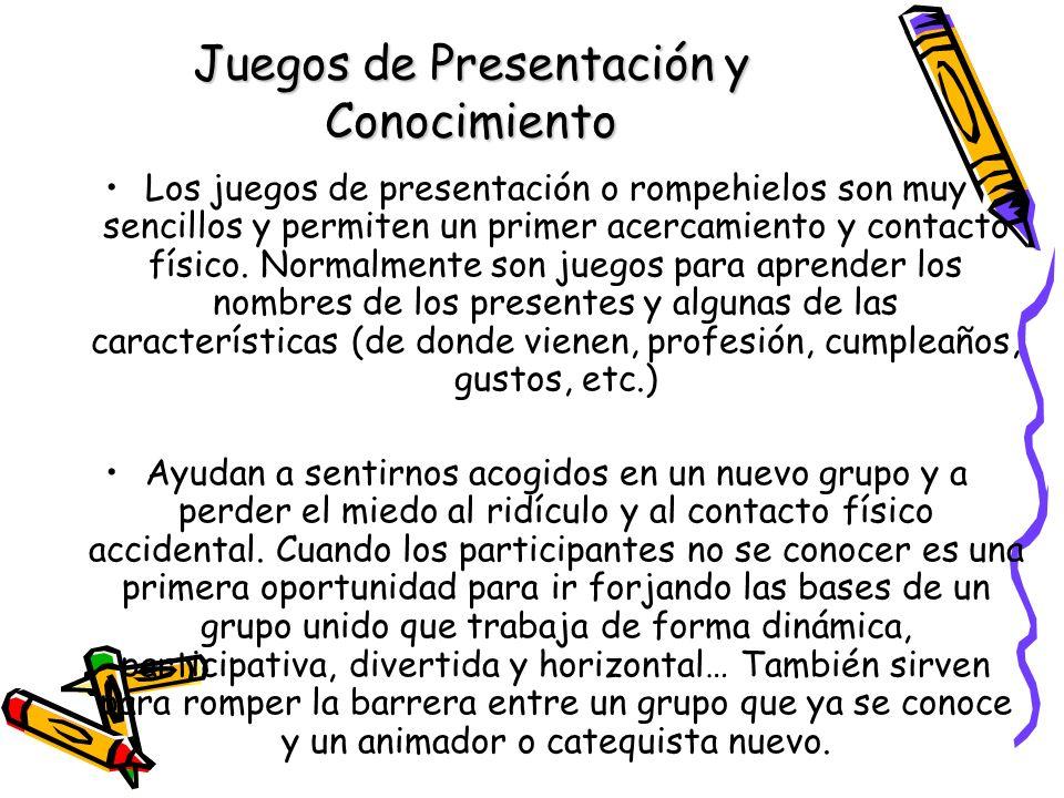 Juegos de Presentación y Conocimiento Los juegos de presentación o rompehielos son muy sencillos y permiten un primer acercamiento y contacto físico.