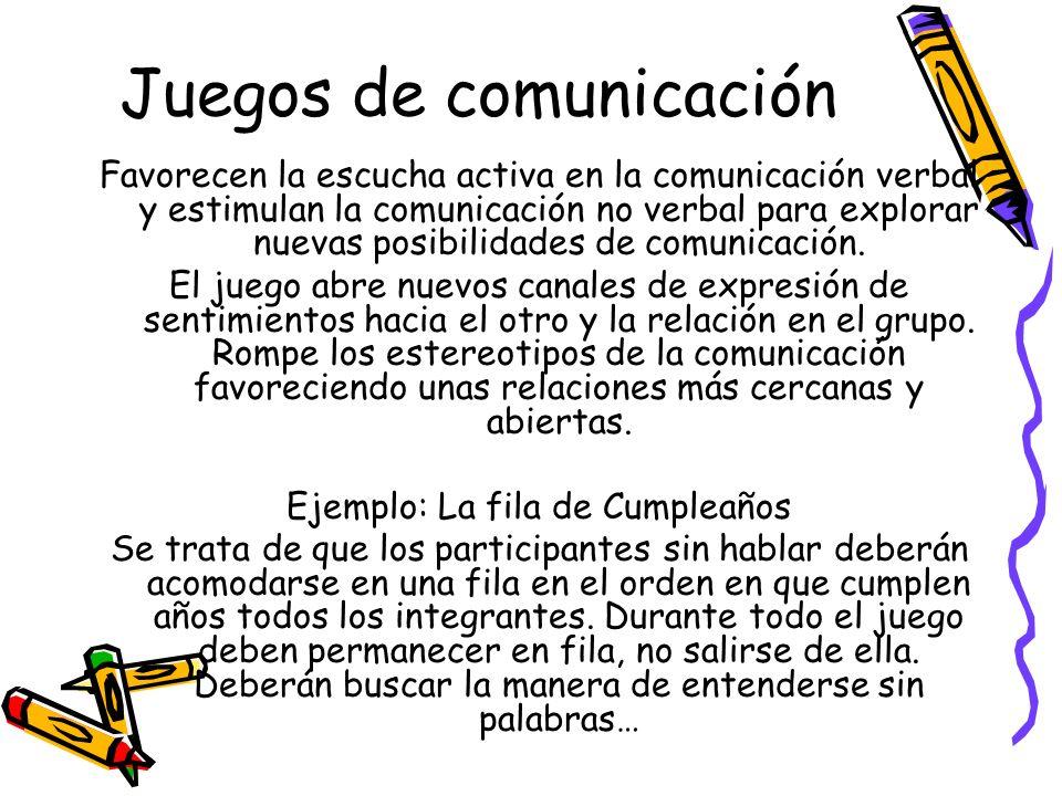 Juegos de comunicación Favorecen la escucha activa en la comunicación verbal y estimulan la comunicación no verbal para explorar nuevas posibilidades