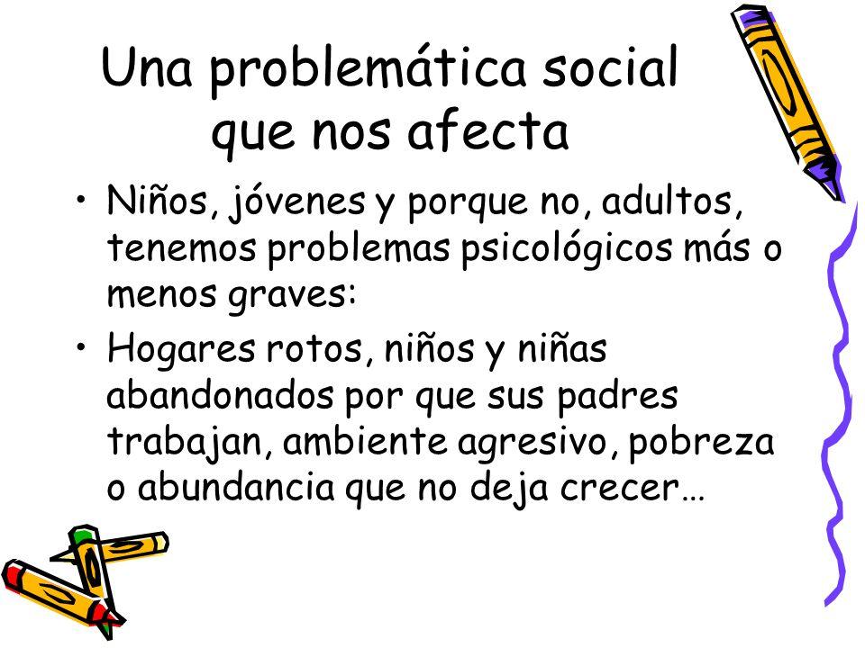 Una problemática social que nos afecta Niños, jóvenes y porque no, adultos, tenemos problemas psicológicos más o menos graves: Hogares rotos, niños y