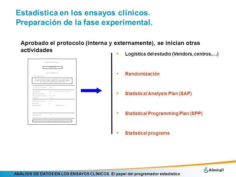 ANÁLISIS DE DATOS EN LOS ENSAYOS CLÍNICOS. El papel del programador estadístico Estadística en los ensayos clínicos. Preparación de la fase experiment