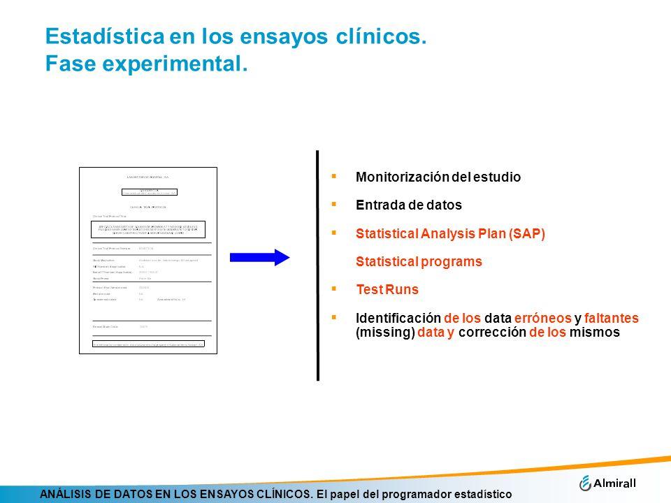 ANÁLISIS DE DATOS EN LOS ENSAYOS CLÍNICOS. El papel del programador estadístico Estadística en los ensayos clínicos. Fase experimental. Monitorización