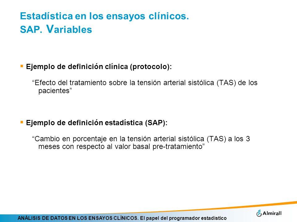 ANÁLISIS DE DATOS EN LOS ENSAYOS CLÍNICOS. El papel del programador estadístico Estadística en los ensayos clínicos. SAP. V ariables Ejemplo de defini