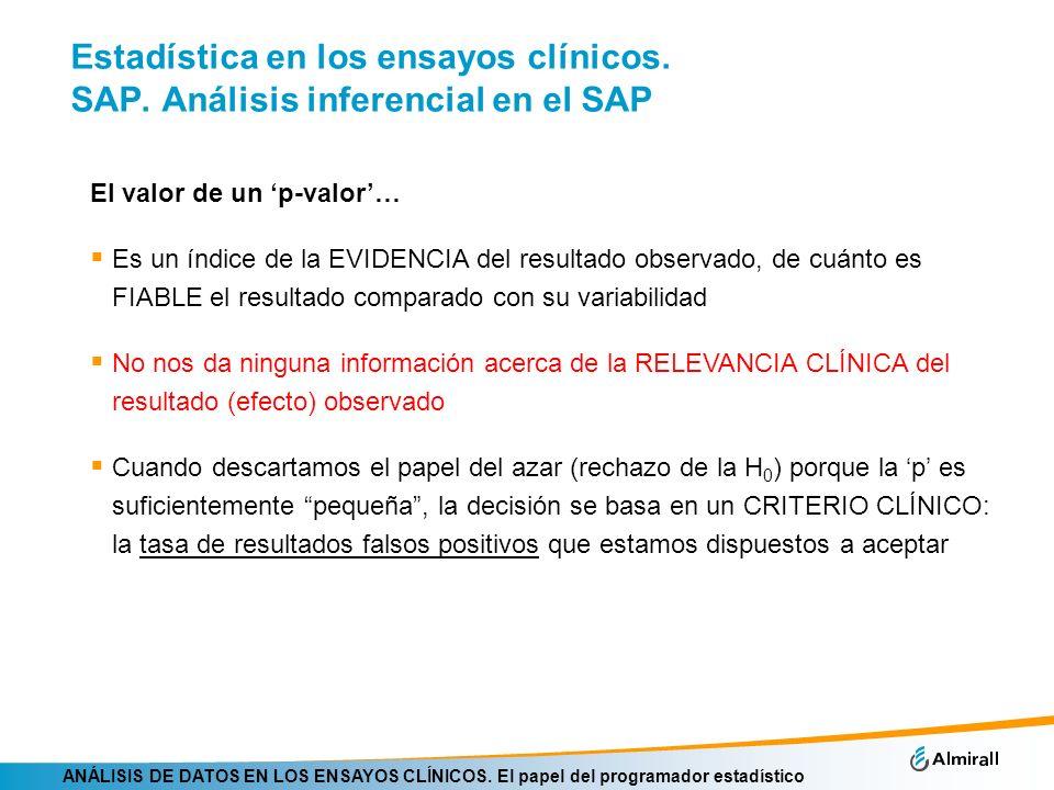 ANÁLISIS DE DATOS EN LOS ENSAYOS CLÍNICOS. El papel del programador estadístico Estadística en los ensayos clínicos. SAP. Análisis inferencial en el S