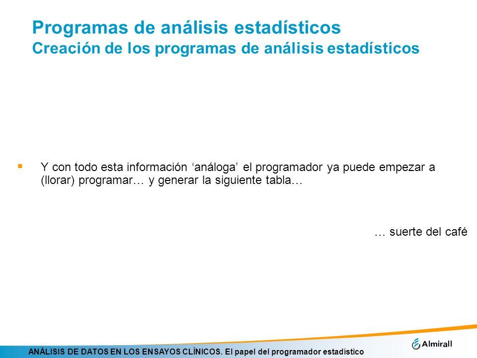 ANÁLISIS DE DATOS EN LOS ENSAYOS CLÍNICOS. El papel del programador estadístico Programas de análisis estadísticos Creación de los programas de anális