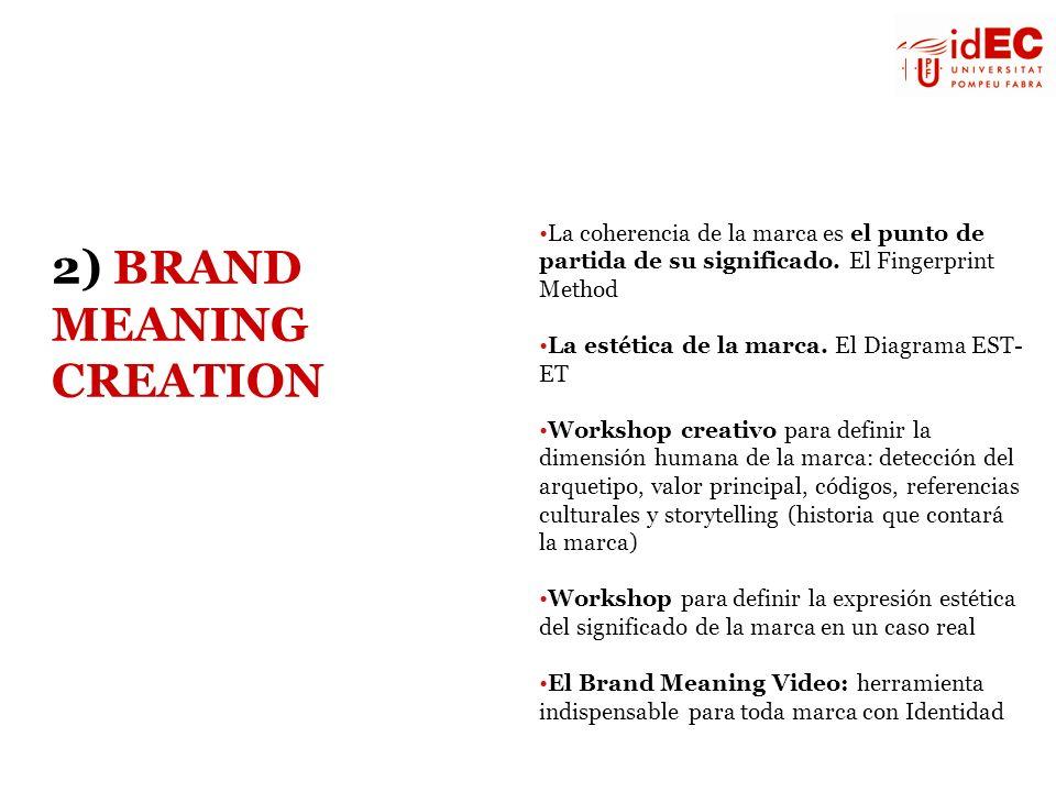 La coherencia de la marca es el punto de partida de su significado. El Fingerprint Method La estética de la marca. El Diagrama EST- ET Workshop creati
