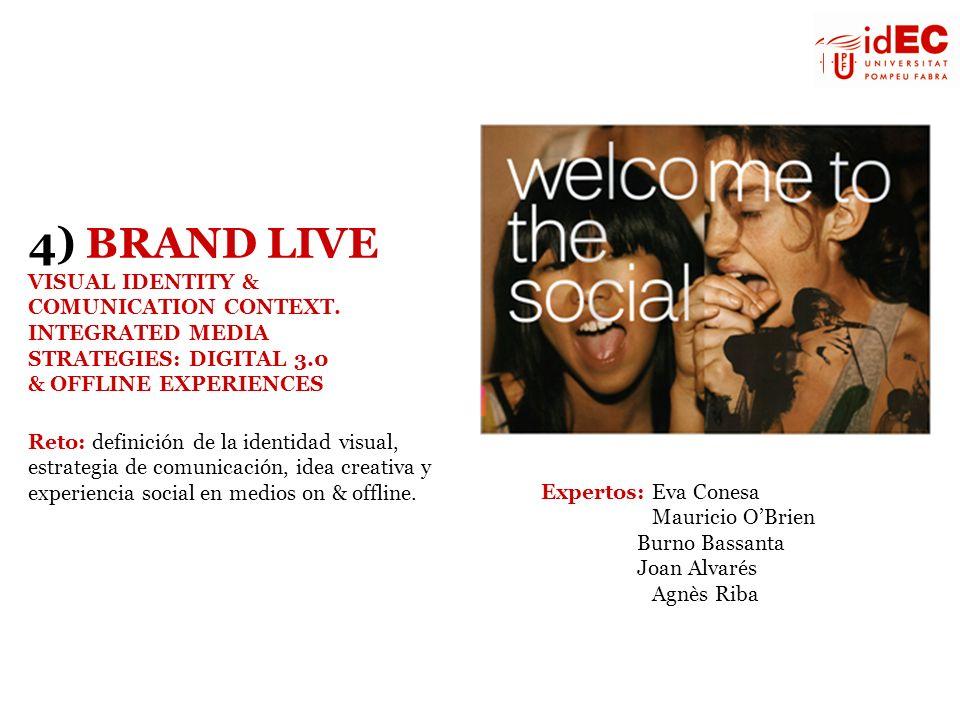Expertos: Eva Conesa Mauricio OBrien Burno Bassanta Joan Alvarés Agnès Riba 4) BRAND LIVE VISUAL IDENTITY & COMUNICATION CONTEXT. INTEGRATED MEDIA STR