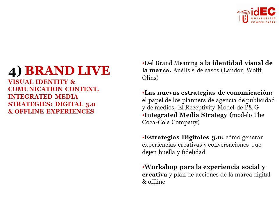 Del Brand Meaning a la identidad visual de la marca. Análisis de casos (Landor, Wolff Olins) Las nuevas estrategias de comunicación: el papel de los p