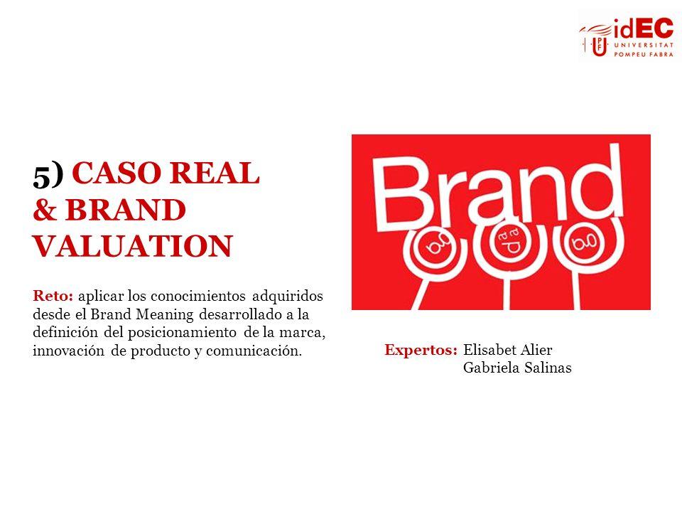 5) CASO REAL & BRAND VALUATION Reto: aplicar los conocimientos adquiridos desde el Brand Meaning desarrollado a la definición del posicionamiento de l