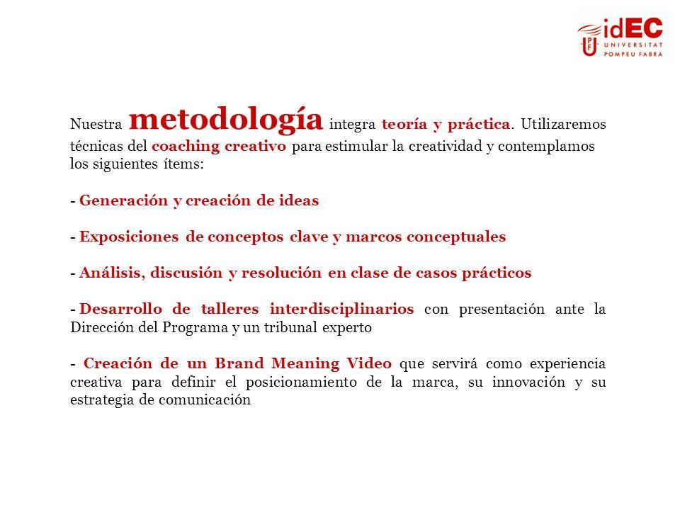 Nuestra metodología integra teoría y práctica. Utilizaremos técnicas del coaching creativo para estimular la creatividad y contemplamos los siguientes