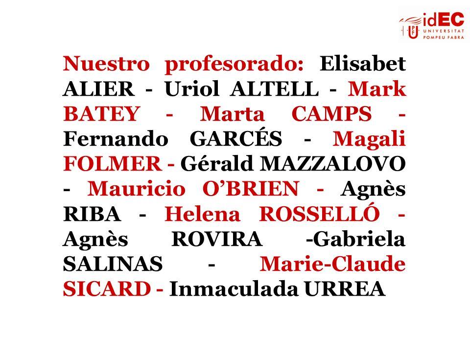 Nuestro profesorado: Elisabet ALIER - Uriol ALTELL - Mark BATEY - Marta CAMPS - Fernando GARCÉS - Magali FOLMER - Gérald MAZZALOVO - Mauricio OBRIEN -
