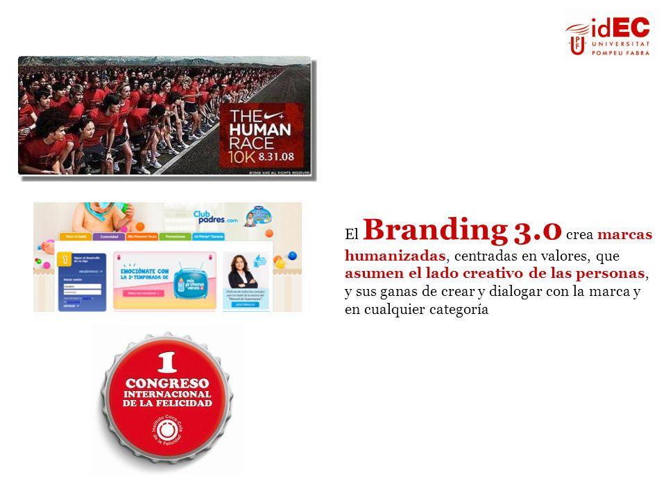 El Branding 3.0 crea marcas humanizadas, centradas en valores, que asumen el lado creativo de las personas, y sus ganas de crear y dialogar con la mar