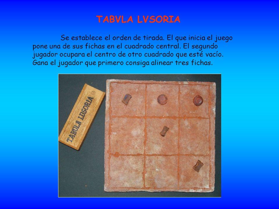TABVLA LVSORIA Se establece el orden de tirada. El que inicia el juego pone una de sus fichas en el cuadrado central. El segundo jugador ocupara el ce