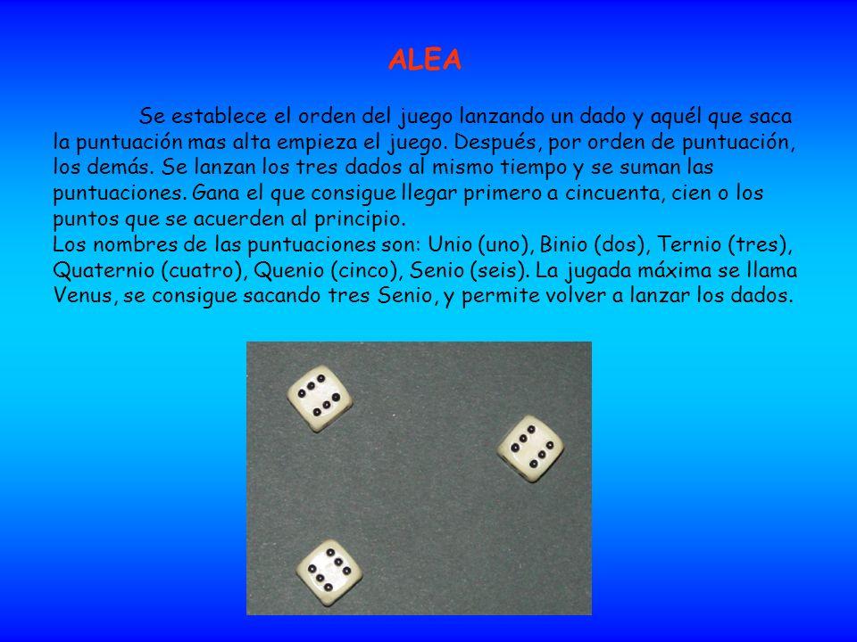 ALEA Se establece el orden del juego lanzando un dado y aquél que saca la puntuación mαs alta empieza el juego. Después, por orden de puntuación, los