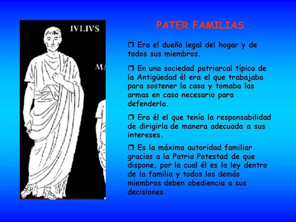 PATER FAMILIAS Era el dueño legal del hogar y de todos sus miembros. En una sociedad patriarcal típica de la Antigüedad él era el que trabajaba para s