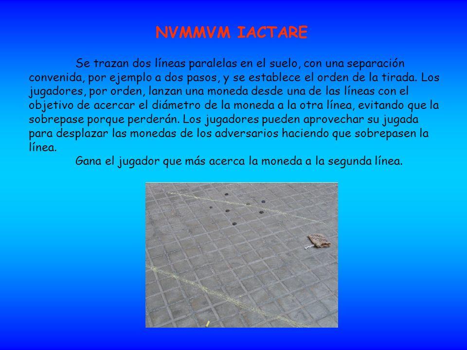 NVMMVM IACTARE Se trazan dos líneas paralelas en el suelo, con una separación convenida, por ejemplo a dos pasos, y se establece el orden de la tirada