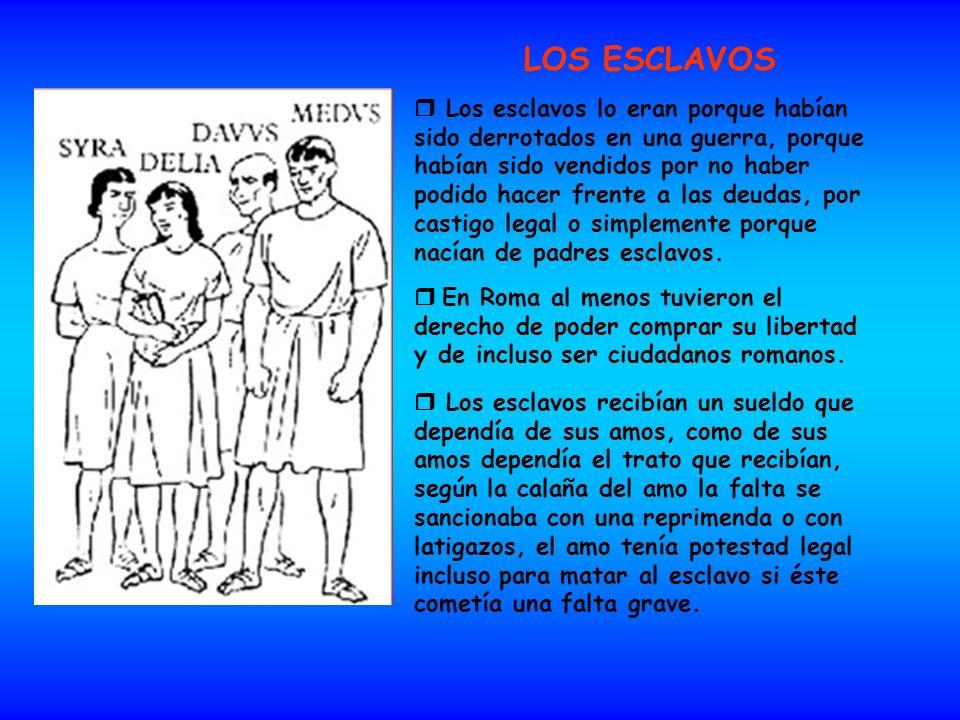 LOS ESCLAVOS Los esclavos lo eran porque habían sido derrotados en una guerra, porque habían sido vendidos por no haber podido hacer frente a las deud