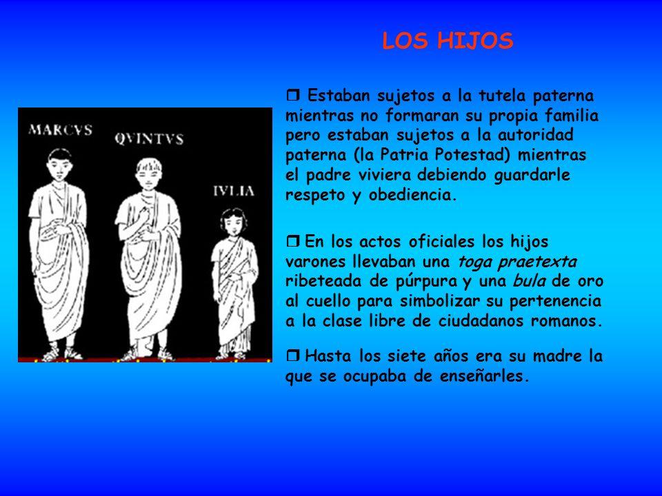 LOS HIJOS Estaban sujetos a la tutela paterna mientras no formaran su propia familia pero estaban sujetos a la autoridad paterna (la Patria Potestad)