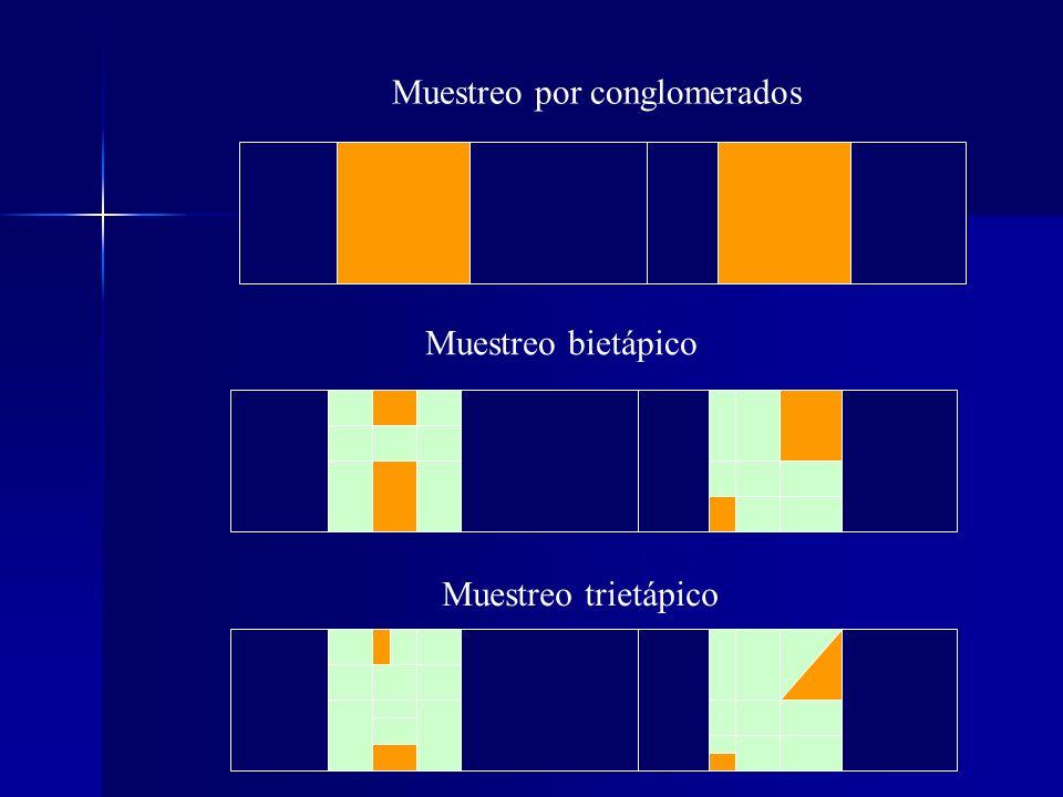 Muestreo bietápico Muestreo por conglomerados Muestreo trietápico