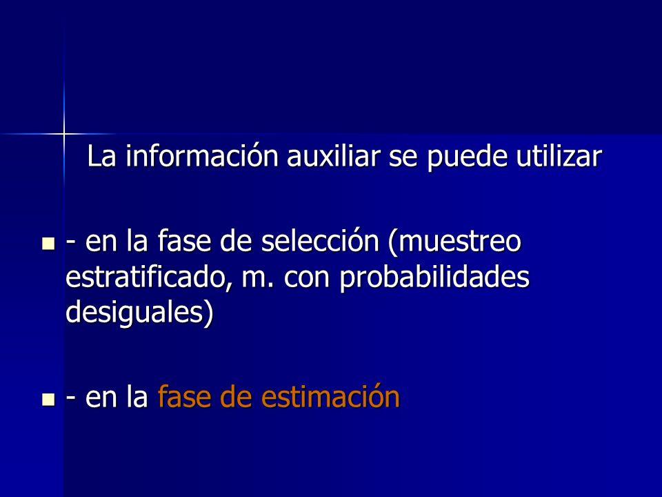 La información auxiliar se puede utilizar La información auxiliar se puede utilizar - en la fase de selección (muestreo estratificado, m. con probabil