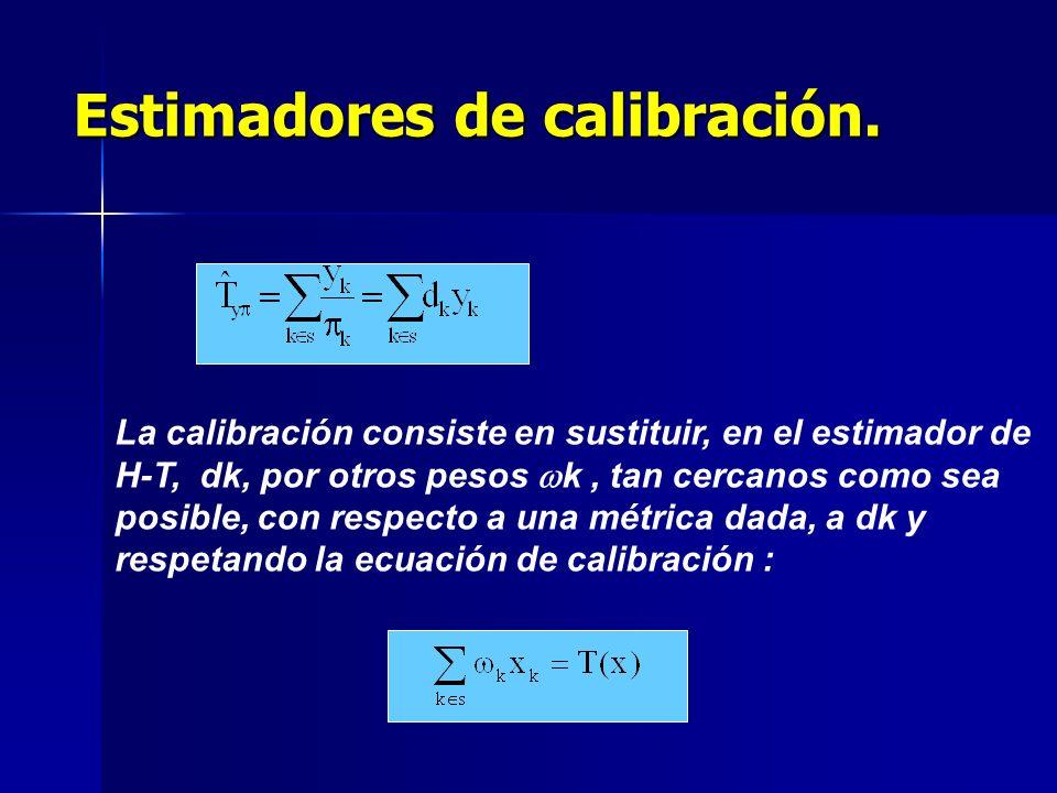 La calibración consiste en sustituir, en el estimador de H-T, dk, por otros pesos k, tan cercanos como sea posible, con respecto a una métrica dada, a