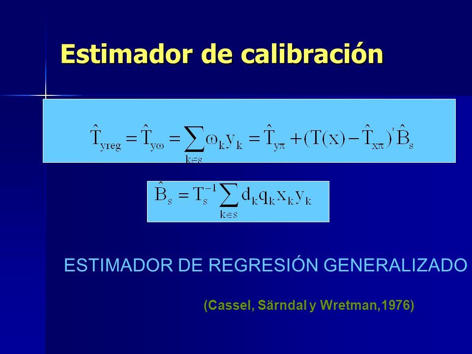 Estimador de calibración ESTIMADOR DE REGRESIÓN GENERALIZADO (Cassel, Särndal y Wretman,1976)