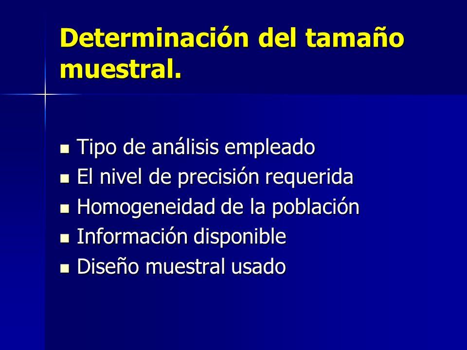 Determinación del tamaño muestral. Tipo de análisis empleado Tipo de análisis empleado El nivel de precisión requerida El nivel de precisión requerida