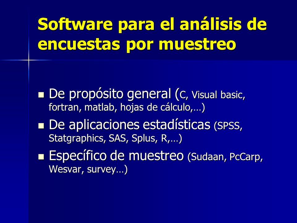Software para el análisis de encuestas por muestreo De propósito general ( C, Visual basic, fortran, matlab, hojas de cálculo,…) De propósito general
