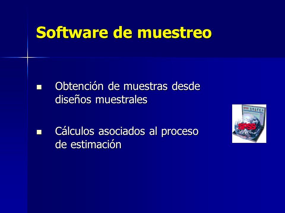 Software de muestreo Obtención de muestras desde diseños muestrales Obtención de muestras desde diseños muestrales Cálculos asociados al proceso de es