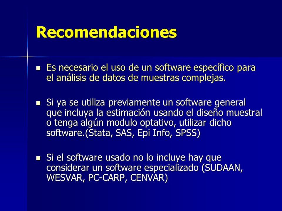 Recomendaciones Es necesario el uso de un software específico para el análisis de datos de muestras complejas. Es necesario el uso de un software espe