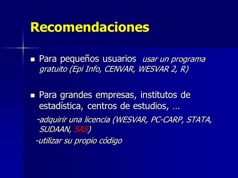 Recomendaciones Para pequeños usuarios usar un programa gratuito (Epi Info, CENVAR, WESVAR 2, R) Para pequeños usuarios usar un programa gratuito (Epi