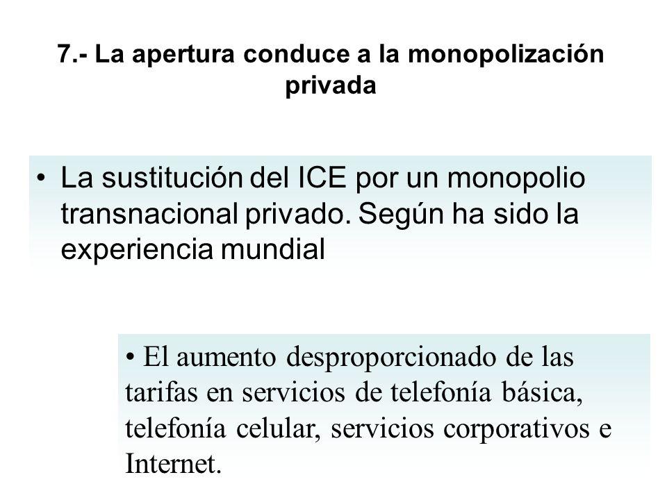 7.- La apertura conduce a la monopolización privada La sustitución del ICE por un monopolio transnacional privado. Según ha sido la experiencia mundia