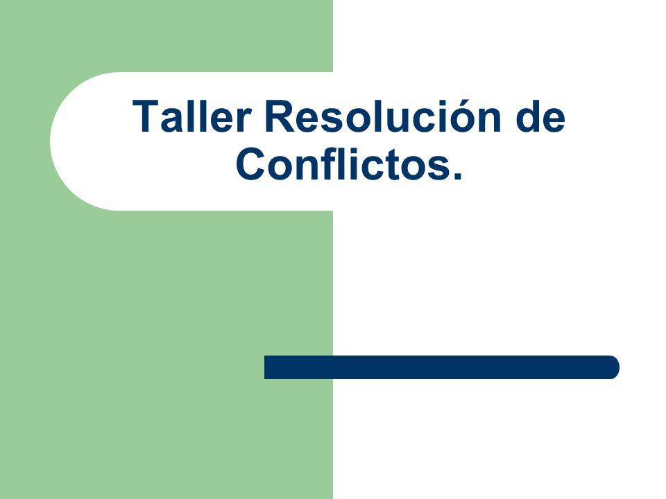 Los Contenidos del Taller son… Resolución de conflictos.