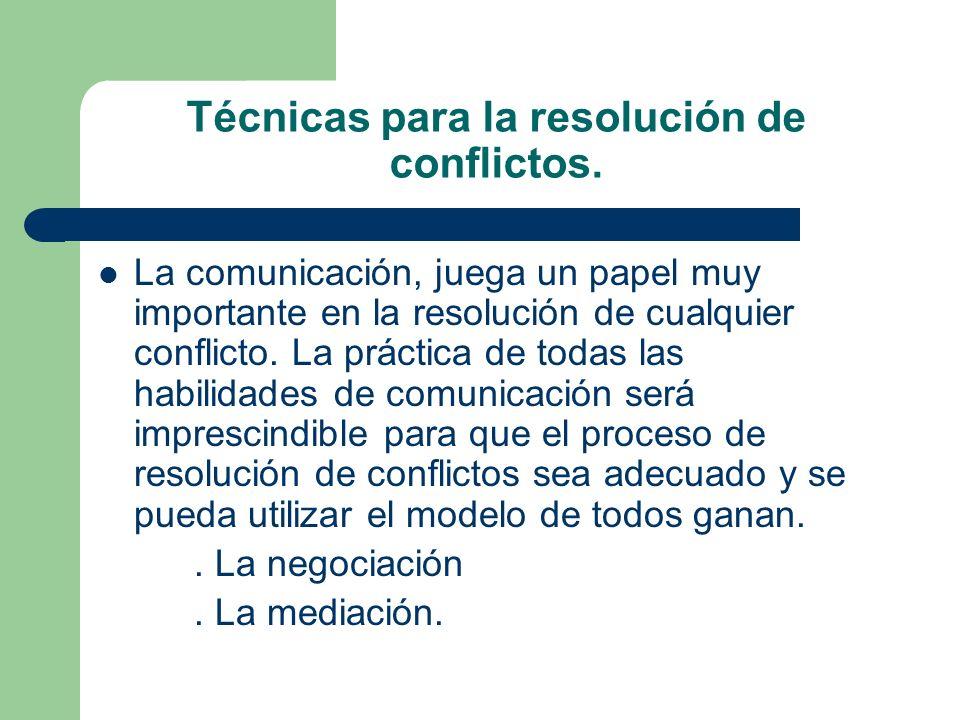 Técnicas para la resolución de conflictos. La comunicación, juega un papel muy importante en la resolución de cualquier conflicto. La práctica de toda