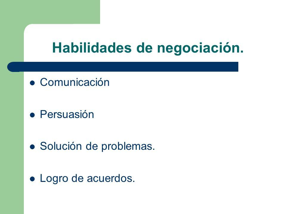 Habilidades de negociación. Comunicación Persuasión Solución de problemas. Logro de acuerdos.