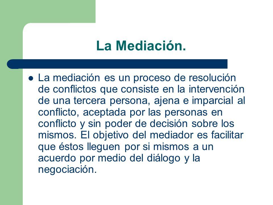 La Mediación. La mediación es un proceso de resolución de conflictos que consiste en la intervención de una tercera persona, ajena e imparcial al conf