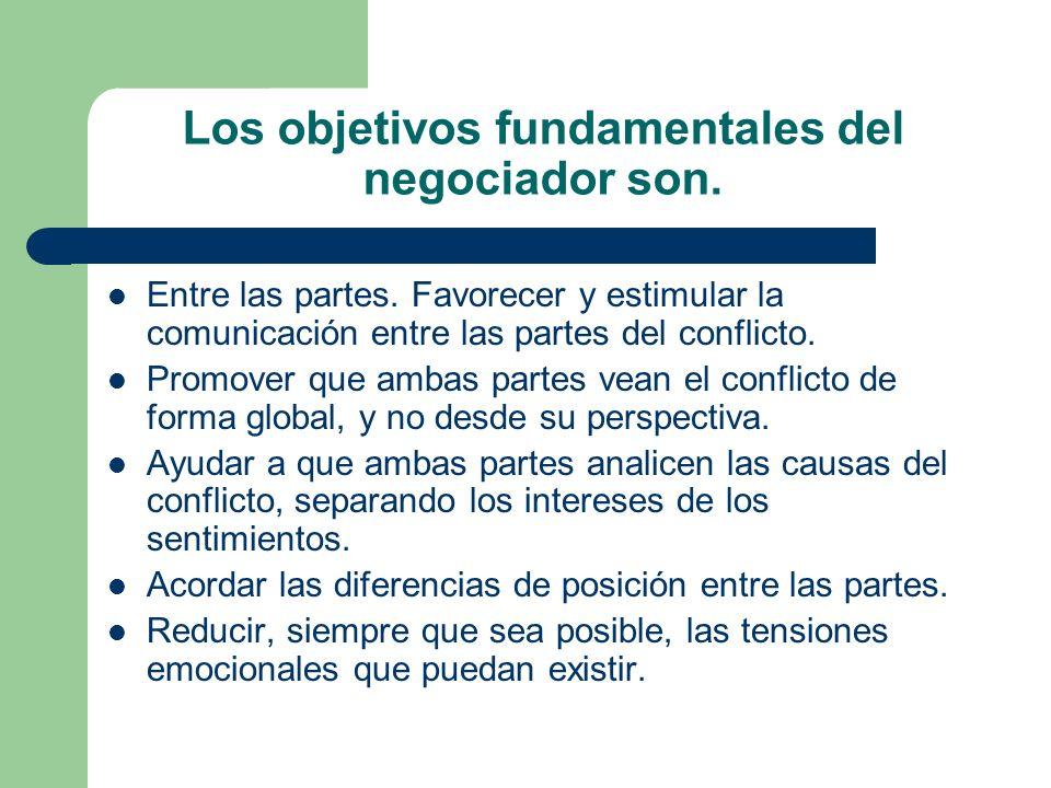 Los objetivos fundamentales del negociador son. Entre las partes. Favorecer y estimular la comunicación entre las partes del conflicto. Promover que a