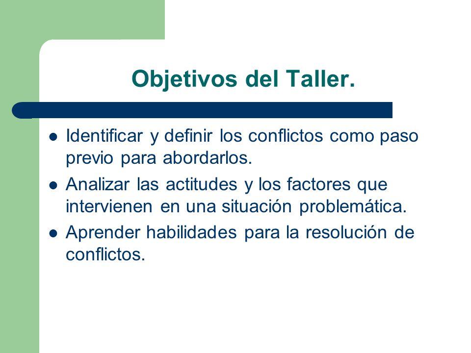 Objetivos del Taller. Identificar y definir los conflictos como paso previo para abordarlos. Analizar las actitudes y los factores que intervienen en