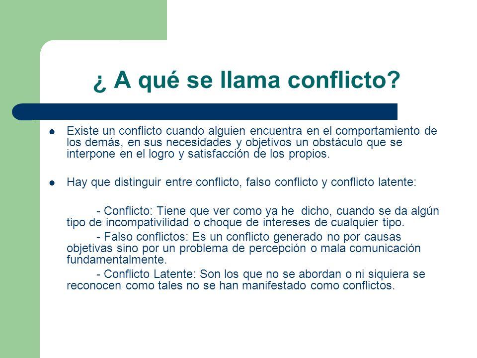 ¿ A qué se llama conflicto? Existe un conflicto cuando alguien encuentra en el comportamiento de los demás, en sus necesidades y objetivos un obstácul