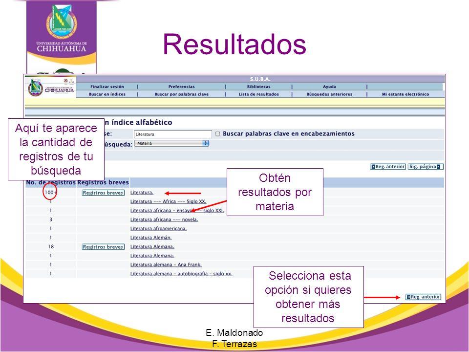 Búsqueda por índice Selecciona una opción del menú, escribe una palabra clave E. Maldonado F. Terrazas